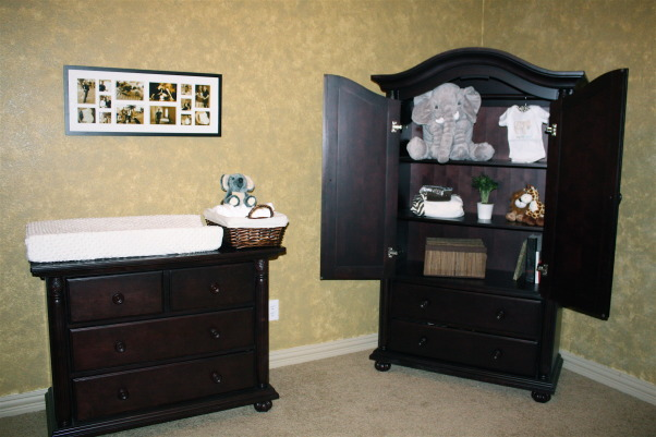 Traditional Safari Nursery, Neutral Safari Nursery for MacKenzie Lynne, Armoire and changing table/dresser in a deep espresso brown.  The pictures above the changing table were taken of my husband and I throughout pregnancy and done in sepia tones.  , Nurseries Design
