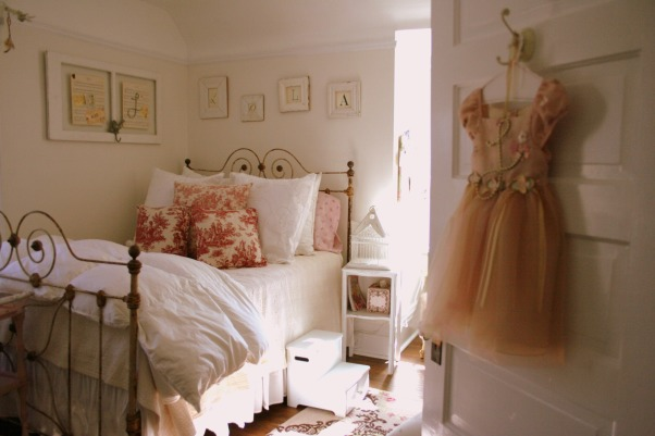 lola's room, sweet cottage meets girly chic. {the walls are cottage white by Behr}, Lola's room, age 6. cream walls.   , Girls' Rooms Design