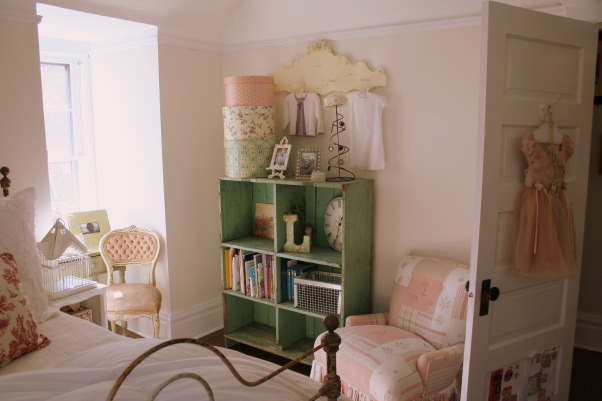lola's room, sweet cottage meets girly chic. {the walls are cottage white by Behr}, the bookcase and her reading area.  , Girls' Rooms Design