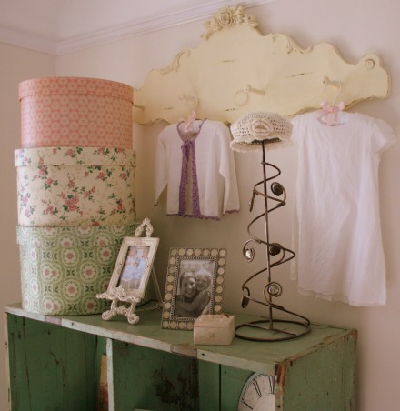 lola's room, sweet cottage meets girly chic. {the walls are cottage white by Behr}, vintage book case adorned with dresses   , Girls' Rooms Design