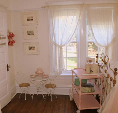 lola's room, sweet cottage meets girly chic. {the walls are cottage white by Behr}, in front of her bed. Sheers from Target.   , Girls' Rooms Design