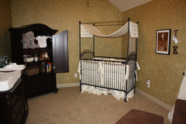 Traditional Safari Nursery, Neutral Safari Nursery for MacKenzie Lynne, Canopy crib by Bratt Decor in black cast iron.        , Nurseries Design
