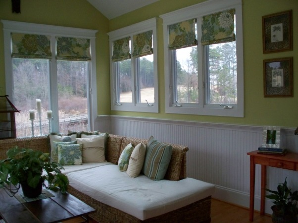 Sunroom, This is my sunroom,  Out of necessity, I had to learn how to sew - having someone make 12 window treatments and 18 pillows would have been too costly!  So, I did it myself!  Here is how it turned out!, Beadboard added a lot of character to the room, Other Spaces Design