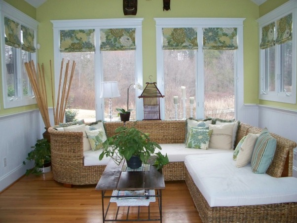 Sunroom, This is my sunroom,  Out of necessity, I had to learn how to sew - having someone make 12 window treatments and 18 pillows would have been too costly!  So, I did it myself!  Here is how it turned out!, Sunroom, Other Spaces Design