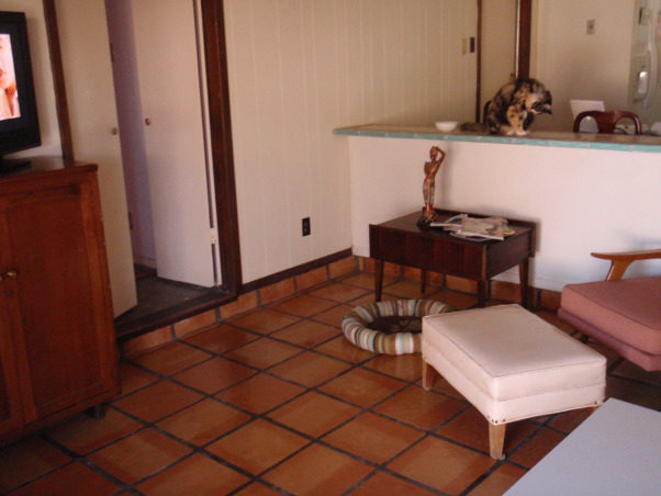 70's Sunken Treasure, This living/dining area is a blank canvas in need of high style. The house was built in 1972 and currently has a hacienda feel; saltillo tile, dark wood mantel and ceiling beams, sliding glass door overlooking a rustic backyard with a small swimming pool. , This is the door leading into the master suite, the space to the right of the door could fit a large chair, or a loveseat could go along the bar. I want ample seating in the room, and it needs to be comfy and pet/pool party resistant.  , Living Rooms Design