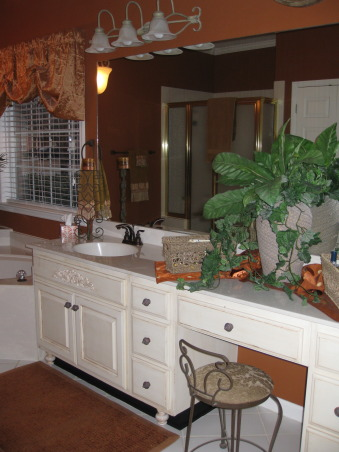 Burnt Orange Master Bath, Vanity area.  This vanity is over 10 feet.  I glazed these cabinets after doing the smaller one.     , Bathrooms Design