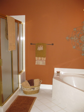 Burnt Orange Master Bath, I also painted all the grout in this bathroom.  I was ready to retile because the tile was white and the grout was white.  It was impossible to clean.  Purchased a $15 bottle of grout paint and sealer and a small brush.  Made the tile look great.  , Bathrooms Design