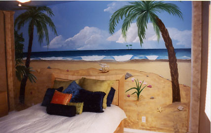 Beach scene, This customer wanted her daughters headboard to blend in with the beach scene.  If you look closely you can see how we matched the headboard with the sand.  This a a very unique bedroom that gets alot of compliments., Customer wanted beach scene painted in daughters bedroom.  Her request was to also make the headboard blend in with the sand., Bedrooms Design