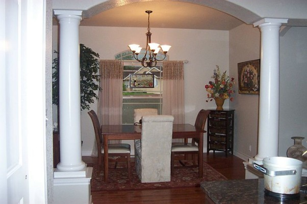 Bold colors in the dining room, Here is a very light dining room with bold colors added., Very small dining room, no color., Dining Rooms Design