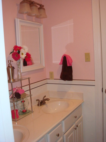 Pink and Brown, This is my 11yr old's bathroom. She wanted pink and brown so thats what I did. I think its missing somthing just dont know what. Any ideas?, The brown stripe you see is ribbon glued on top and bottom of molding , Bathrooms Design