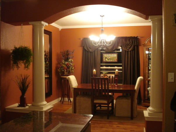 Bold colors in the dining room, Here is a very light dining room with bold colors added., Dining Rooms Design
