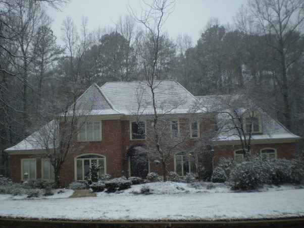 French Chateau Style in Georgia, Dogwoods in the Spring and a Winter's sprinkling of snow, This is as much snow as Southerner's EVER see!   , Home Exterior Design