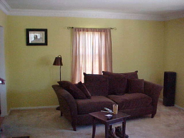 The Living Room , This Living Room was yellow with beige carpet throughout and a sofa blocking the fireplace.  Here are some before and after shots.  I hope you enjoy., before    , Living Spaces