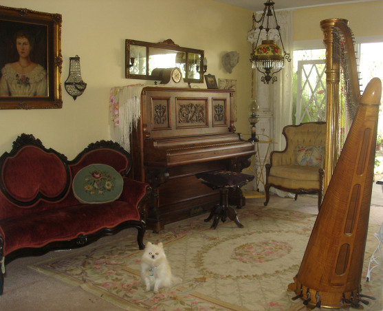 Antique Music Room, I love my music room, ok don't we al want a harp, ok maybe not I don't know but I had to have one even though my space is small., Well, as usual Charley will stay posing forever so here he is the center of attention HAHAHA!!!, Other Spaces Design