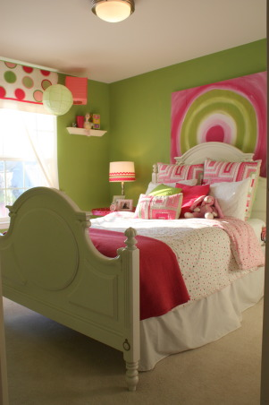Pink and Green fun room, This is my oldest daughter's bedroom. The bedding is from Pottery Barn Kids. I made the curtains and the painting behind the bed with acrylic paint on wood. The wall color is Laura Ashley Apple 4 from Lowes. I glued the ribbons to a drum shade for the lamp., Girls' Rooms Design