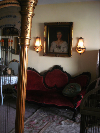 Antique Music Room, I love my music room, ok don't we al want a harp, ok maybe not I don't know but I had to have one even though my space is small., I love the portrait of the Victorian lady it was the grandma of the lady who sold me the vanity., Other Spaces Design