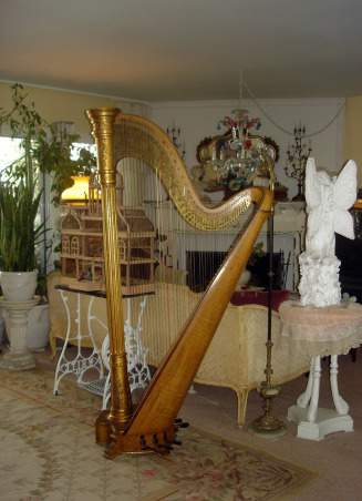 Antique Music Room, I love my music room, ok don't we al want a harp, ok maybe not I don't know but I had to have one even though my space is small., The harp, I know is a bit imposing but when it came to auction I had to have it, everyone was stunt when I won it Yeay!!!, Other Spaces Design