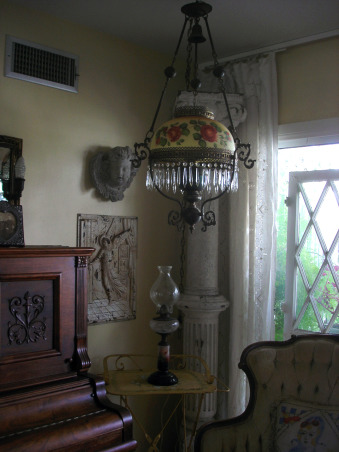 Antique Music Room, I love my music room, ok don't we al want a harp, ok maybe not I don't know but I had to have one even though my space is small., My hanging lamp is the sister of the other one trough out the living room., Other Spaces Design