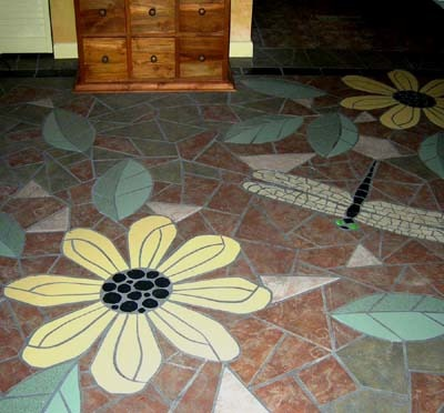 mosaic flower floor, Living room and hall floor, Living Rooms Design