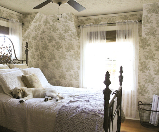 Guest Bedroom, Guest bedroom - French Country style with Toile wallpaper. , Guest bedroom with custom metal queen sized bed.  Existing fir floors, new toile wallpaper.  , Bedrooms Design