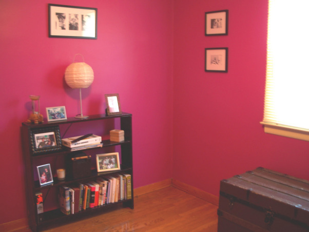 Fabulous Relaxing Brown & Blue Office, This room was blue when I moved in. I painted it hot pink!! The pink was different but it hurt my head after a while. SO back to blue, but a better blue. I painted the ceiling dark brown partly as an experiment to see if I would like it, and partly to hide the imperfections, cracks, bumps, and glued on stars!!! Turns out, I do love a brown ceiling and have since painted the bedroom ceiling and will soon paint the bathroom. Anyone thinking about painting a ceiling dark brown....don't be afraid!! Although I must say, I think white crown molding is a must in such an endeavor. So anyway, this is my favorite room so far but I am open to any suggestions you may have. Several minds are better than one., freshly painted pink. I picked the color on the Behr website and sent my husband out to pick it up, don't ever do this! Colors vary from monitor to monitor, obvious to me now, but wasn't at the time. I used it anyway.   , Home Offices Design