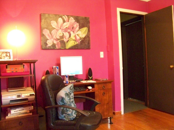 "Fabulous Relaxing Brown & Blue Office, This room was blue when I moved in. I painted it hot pink!! The pink was different but it hurt my head after a while. SO back to blue, but a better blue. I painted the ceiling dark brown partly as an experiment to see if I would like it, and partly to hide the imperfections, cracks, bumps, and glued on stars!!! Turns out, I do love a brown ceiling and have since painted the bedroom ceiling and will soon paint the bathroom. Anyone thinking about painting a ceiling dark brown....don't be afraid!! Although I must say, I think white crown molding is a must in such an endeavor. So anyway, this is my favorite room so far but I am open to any suggestions you may have. Several minds are better than one., desk area of what once was referred to as ""the pink room:   , Home Offices Design"