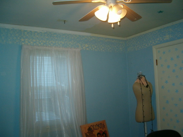 Fabulous Relaxing Brown & Blue Office, This room was blue when I moved in. I painted it hot pink!! The pink was different but it hurt my head after a while. SO back to blue, but a better blue. I painted the ceiling dark brown partly as an experiment to see if I would like it, and partly to hide the imperfections, cracks, bumps, and glued on stars!!! Turns out, I do love a brown ceiling and have since painted the bedroom ceiling and will soon paint the bathroom. Anyone thinking about painting a ceiling dark brown....don't be afraid!! Although I must say, I think white crown molding is a must in such an endeavor. So anyway, this is my favorite room so far but I am open to any suggestions you may have. Several minds are better than one., Upon moving in...blue walls, yellow stars, yellow ceiling   , Home Offices Design