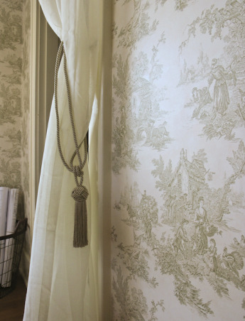 Guest Bedroom, Guest bedroom - French Country style with Toile wallpaper. , Closeup of toile wallpaper., Bedrooms Design
