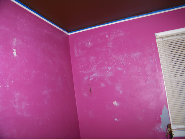 Fabulous Relaxing Brown & Blue Office, This room was blue when I moved in. I painted it hot pink!! The pink was different but it hurt my head after a while. SO back to blue, but a better blue. I painted the ceiling dark brown partly as an experiment to see if I would like it, and partly to hide the imperfections, cracks, bumps, and glued on stars!!! Turns out, I do love a brown ceiling and have since painted the bedroom ceiling and will soon paint the bathroom. Anyone thinking about painting a ceiling dark brown....don't be afraid!! Although I must say, I think white crown molding is a must in such an endeavor. So anyway, this is my favorite room so far but I am open to any suggestions you may have. Several minds are better than one., Transition!! Painted ceiling, sanded the walls. Note the star patterns that emerged after sanding, and the pirate in the lower right corner with a little dab of whats to come behind him. I let him pick the color this time.   , Home Offices Design