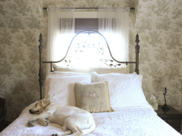 Guest Bedroom, Guest bedroom - French Country style with Toile wallpaper. , Another view of the custom queen sized bed., Bedrooms Design