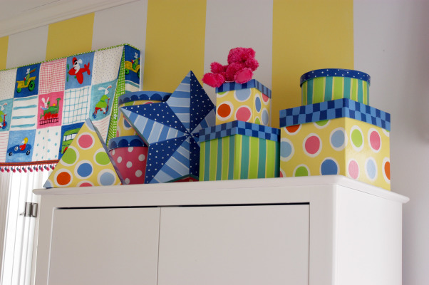 Formal living room to playroom on a budget, I hand painted hat boxes to hold all the small stuff... , Girls' Rooms Design