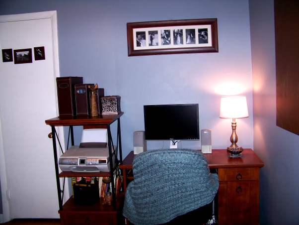 Fabulous Relaxing Brown & Blue Office, This room was blue when I moved in. I painted it hot pink!! The pink was different but it hurt my head after a while. SO back to blue, but a better blue. I painted the ceiling dark brown partly as an experiment to see if I would like it, and partly to hide the imperfections, cracks, bumps, and glued on stars!!! Turns out, I do love a brown ceiling and have since painted the bedroom ceiling and will soon paint the bathroom. Anyone thinking about painting a ceiling dark brown....don't be afraid!! Although I must say, I think white crown molding is a must in such an endeavor. So anyway, this is my favorite room so far but I am open to any suggestions you may have. Several minds are better than one., my cozy corner , Home Offices Design