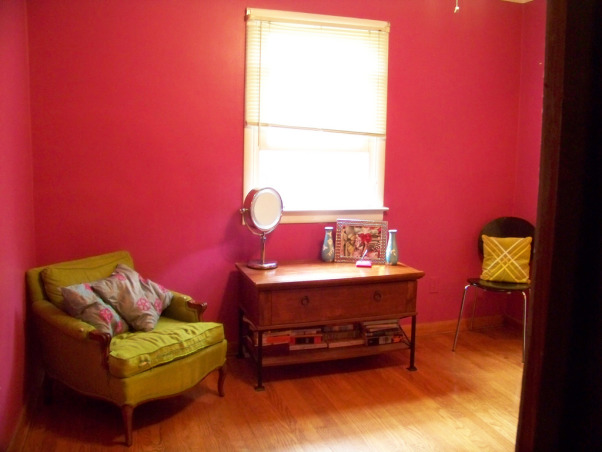 Fabulous Relaxing Brown & Blue Office, This room was blue when I moved in. I painted it hot pink!! The pink was different but it hurt my head after a while. SO back to blue, but a better blue. I painted the ceiling dark brown partly as an experiment to see if I would like it, and partly to hide the imperfections, cracks, bumps, and glued on stars!!! Turns out, I do love a brown ceiling and have since painted the bedroom ceiling and will soon paint the bathroom. Anyone thinking about painting a ceiling dark brown....don't be afraid!! Although I must say, I think white crown molding is a must in such an endeavor. So anyway, this is my favorite room so far but I am open to any suggestions you may have. Several minds are better than one., Along came pink and green overkill   , Home Offices Design