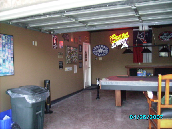 Garage Game Room, Our house didn't have a game room, so we made our garage into one., another view of our new garage  we added a pool table, pool chairs, a beer fridge, pictures and neon lights, Garages Design