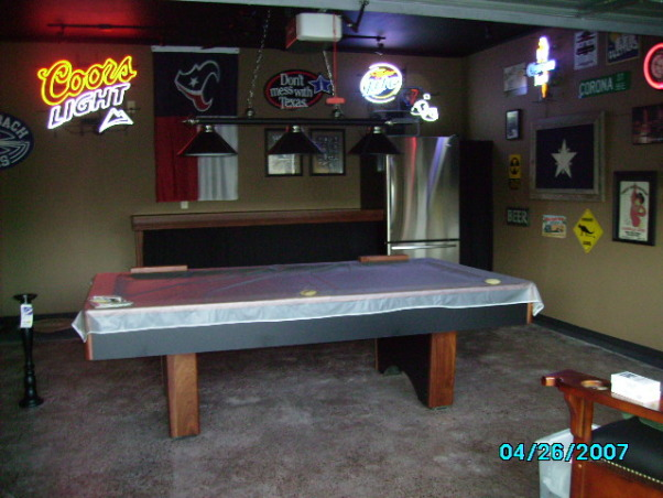 Garage Game Room, Our house didn't have a game room, so we made our garage into one., one more view of the pool table, Garages Design
