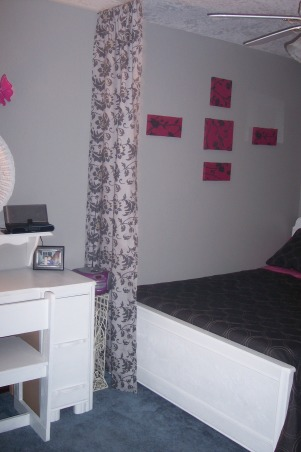 Pink and Black Room, My daughter wanted something a little more grown up for her room and chose the colors Hot pink black gray and white so I came up with this room., I hung curtains on both sides of the room from ceiling to floor to create a feel of seperation from bed and desk area. , Girls' Rooms Design