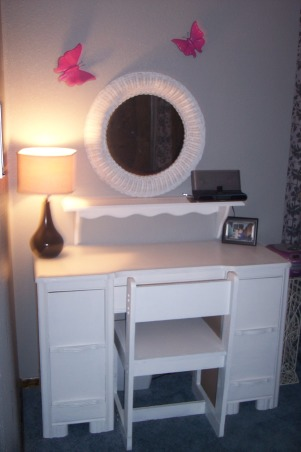 Pink and Black Room, My daughter wanted something a little more grown up for her room and chose the colors Hot pink black gray and white so I came up with this room., Painted all furniture and accents white.  Hung Hot pink butterflies for a pop of color. , Girls' Rooms Design