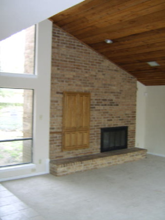 Modern Living, I have created a modern living space with clean lines and a custom designed fireplace. The fireplace includes a back-lit, floating hearth, mosaic tiles, and an insert for the LCD television with down lighting., Before I began construction. , Living Rooms Design