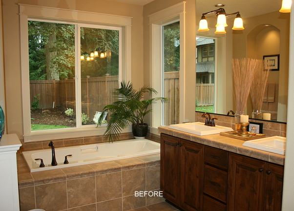 Master Bath Redesign, Our Master Bath lacked personality. With paint, new lighting and accessories I set out to create a retreat filled with sophisticated style. Thanks, Janell, Before photo        , Bathrooms Design