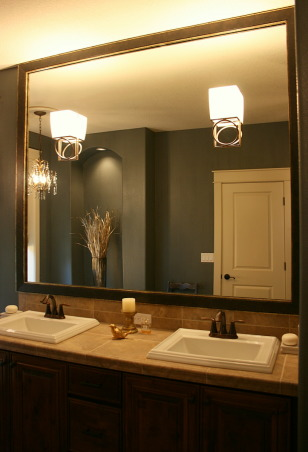 Master Bath Redesign, Our Master Bath lacked personality. With paint, new lighting and accessories I set out to create a retreat filled with sophisticated style. Thanks, Janell, Mirror Frame from Mirror Mate        , Bathrooms Design