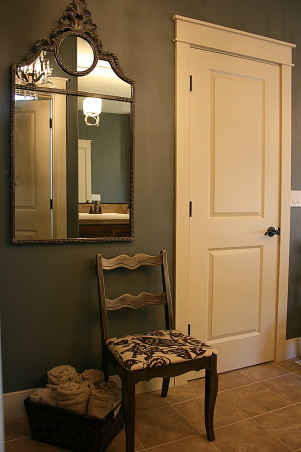 Master Bath Redesign, Our Master Bath lacked personality. With paint, new lighting and accessories I set out to create a retreat filled with sophisticated style. Thanks, Janell, Seating, basket for towels and refinished mirror.       , Bathrooms Design