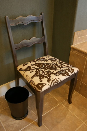 Master Bath Redesign, Our Master Bath lacked personality. With paint, new lighting and accessories I set out to create a retreat filled with sophisticated style. Thanks, Janell, Reupholstered and refinished chair        , Bathrooms Design