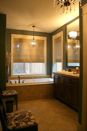 Master Bath Redesign, Our Master Bath lacked personality. With paint, new lighting and accessories I set out to create a retreat filled with sophisticated style. Thanks, Janell, Bathrooms Design