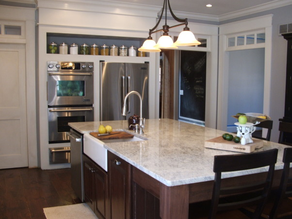 The look for a lot less-before & after, transitional kitchen style.  i spent a lot of time pricing and revising plan to achieve a custom kitchen look without the price tag.  because i love to cook but hate to clean, function was just as important as aesthetics.  behind pocket door (left of ovens) is my pantry with custom looking cabinets and wood countertops (home depot unfinished cabinets w/ trim molding added and salvaged wood countertops) w/ built-in microwave and prep sink. (photos to come- need to paint cabs), 4. kitchen           , Kitchens Design