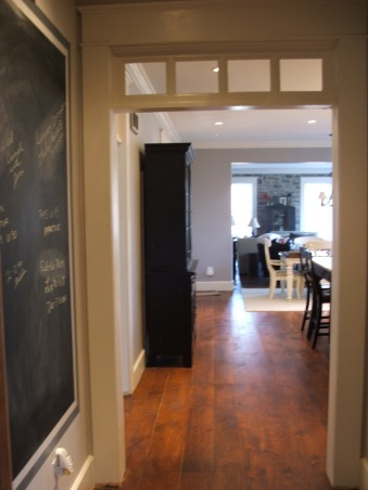 The look for a lot less-before & after, transitional kitchen style.  i spent a lot of time pricing and revising plan to achieve a custom kitchen look without the price tag.  because i love to cook but hate to clean, function was just as important as aesthetics.  behind pocket door (left of ovens) is my pantry with custom looking cabinets and wood countertops (home depot unfinished cabinets w/ trim molding added and salvaged wood countertops) w/ built-in microwave and prep sink. (photos to come- need to paint cabs), message wall-looking into kitchen from next to opening to right of refrig       , Kitchens Design