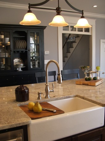 The look for a lot less-before & after, transitional kitchen style.  i spent a lot of time pricing and revising plan to achieve a custom kitchen look without the price tag.  because i love to cook but hate to clean, function was just as important as aesthetics.  behind pocket door (left of ovens) is my pantry with custom looking cabinets and wood countertops (home depot unfinished cabinets w/ trim molding added and salvaged wood countertops) w/ built-in microwave and prep sink. (photos to come- need to paint cabs), Kitchens Design