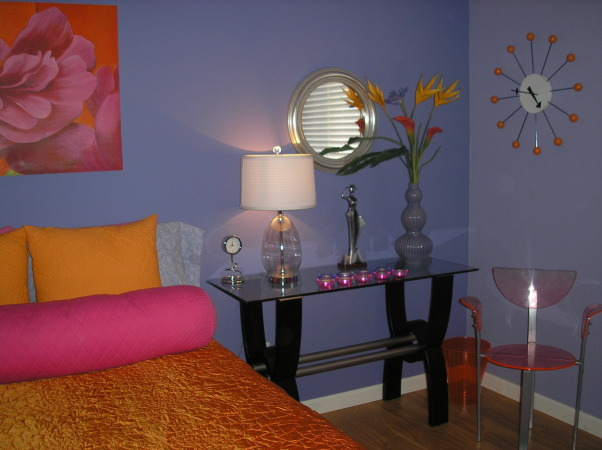 Minimalist Small Guest Bedroom, Although using brave, bold accent colors, this room breathes serenity, wrapped in 4 different shades of lavender to give the illusion of natural shadows.  , Small, serene, simple guest bedroom with all of the amenities.   , Bedrooms Design