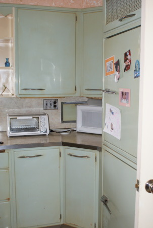 1955 Kitchen, Original 1955 kitchen- We need help to keep the retro style, but update the functionality., The Fridge is a built in, from 1955. , Kitchens Design