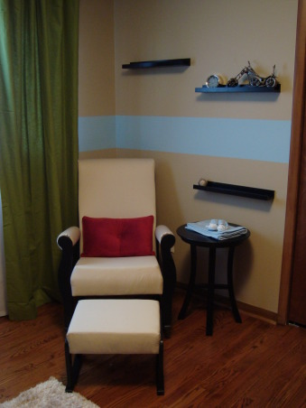 Modern Baby Boy's Room, We tried to create a space that was modern and still baby boy-ish.  We are very happy with the results and hope someone can find some inspiration from our space.  I used this site for many ideas!, Rocking Chair & Ottoman (www.offyourocker.ca) This rocker is amazing!  I looked everywhere for a modern rocker at a good price and couldn't find anything.  I finally found this one and got to pick out the style and fabric/wood colors.  It also has removable, washable arm rest pads!  This is my favorite part of the nursery!  Black Book Ledges (Ikea) We'll display his books on this after our baby shower. , Nurseries Design