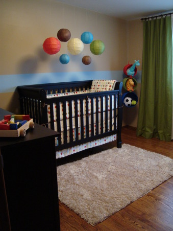 Modern Baby Boy's Room, We tried to create a space that was modern and still baby boy-ish.  We are very happy with the results and hope someone can find some inspiration from our space.  I used this site for many ideas!, Jardine Olympia Lifetime Crib (Babies R Us) Paper Lanterns (www.lunabazaar.com) Shag Rug (Target) , Nurseries Design